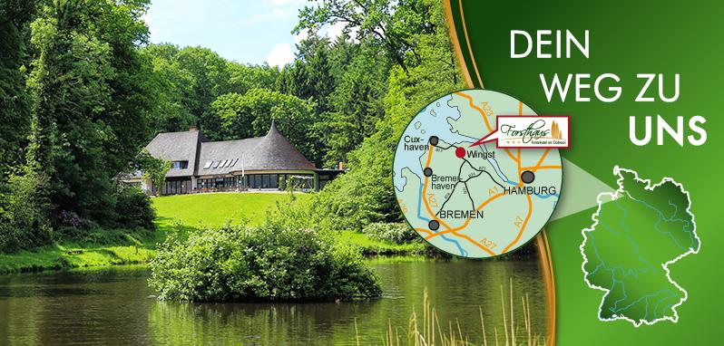 Karte, Lagebeschreibung Forsthaus Wingst